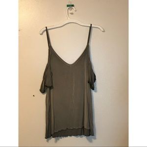 Tank top with exposed shoulder short sleeves